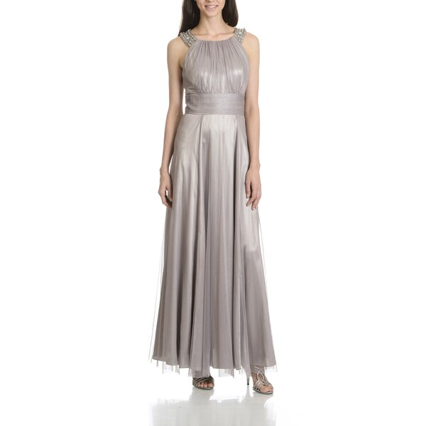 Shop Cachet Women\'s Pewter Beaded Neckline Evening Gown - Free ...