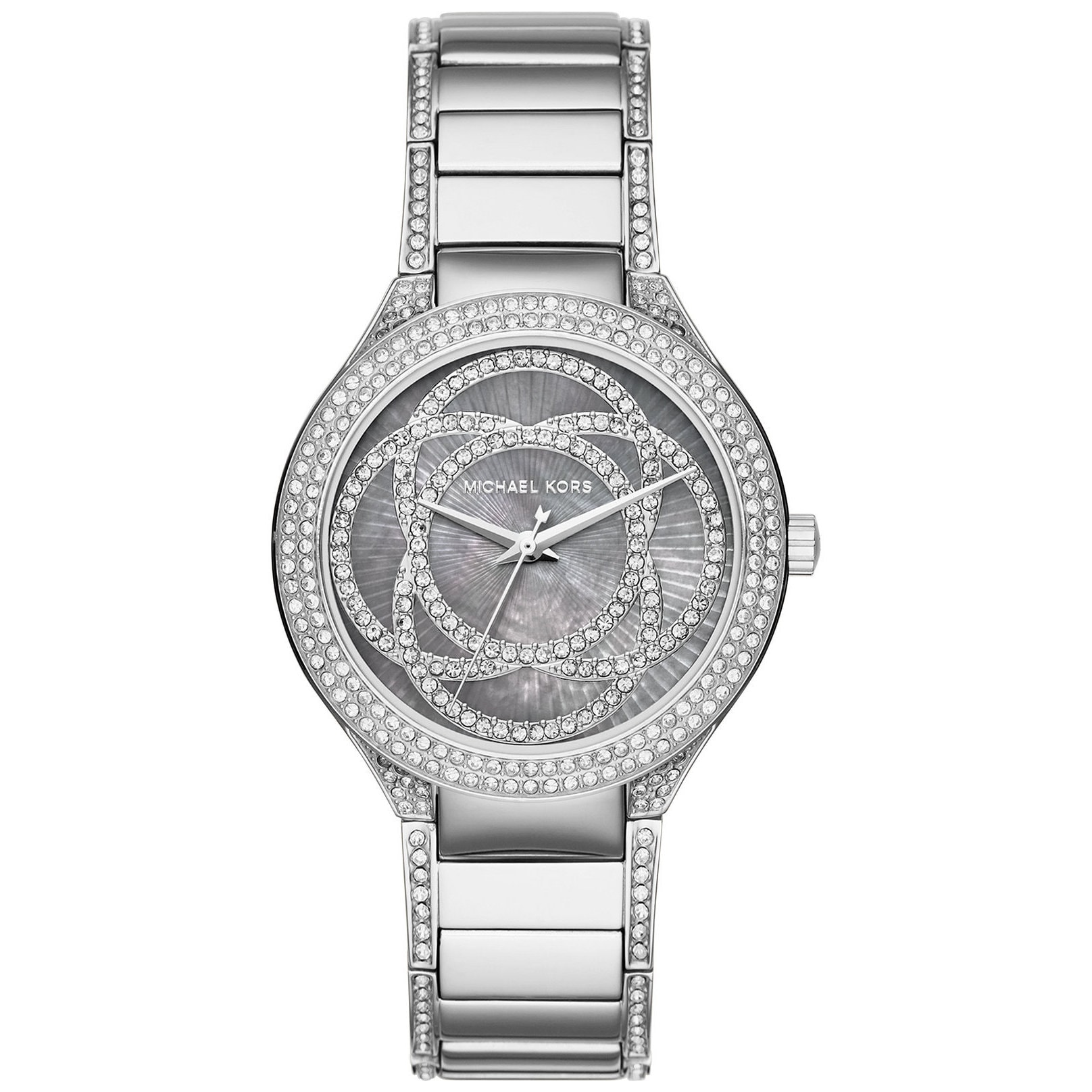 Michael Kors Womens  Kerry Grey Mother Of Pearl Dial Stainless Steel Bracelet Watch MK3480