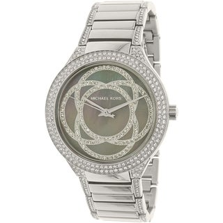 Michael Kors Women's Kerry Grey Mother Of Pearl Dial Stainless Steel Bracelet Watch