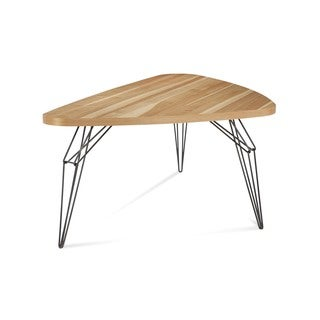 Saloom LEM 42 x 80-inch Triangle Natural Hickory Dining Table with Chrome Steel Finish