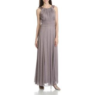 Cachet Women's Glitter Mesh Beaded Sleeveless Evening Gown