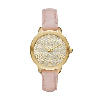 Michael Kors Women's MK2480 Hartman Crystal Pave Dial Pink Leather Watch