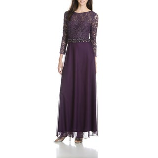 Cachet Women's Lacy Long-Sleeve Plum Evening Gown