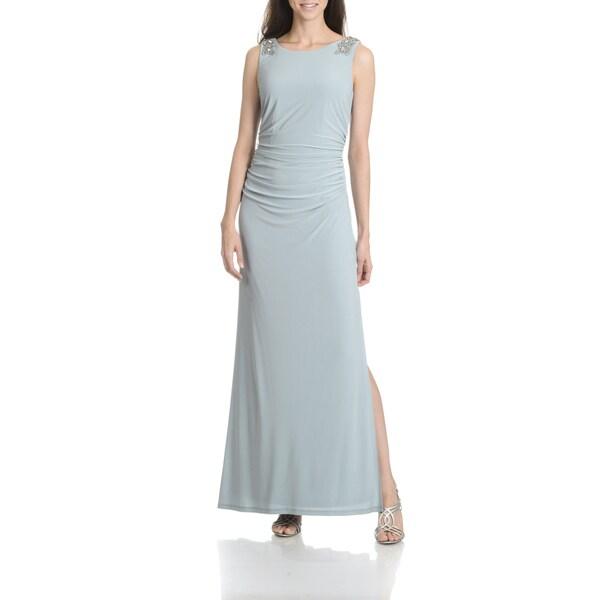 Shop Cachet Womens Slate Embellished Shoulder Long Evening Gown