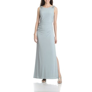 Cachet Women's Slate Embellished Shoulder Long Evening Gown