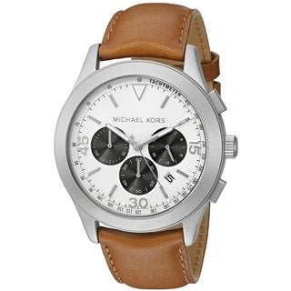 Michael Kors Men's MK8470 Gareth Chronograph White Dial Brown Leather Watch