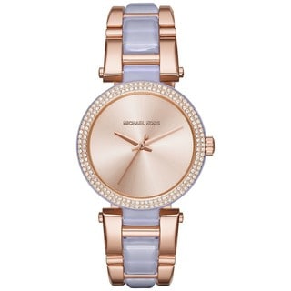 Michael Kors Women's MK4319 Delray Rose-Tone Gold Dial Two-Tone Bracelet Watch