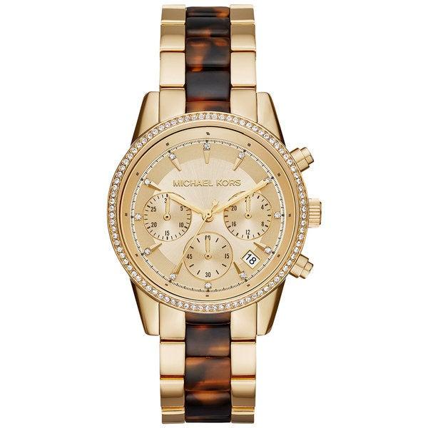 e4b65a882118 Shop Michael Kors Ritz Yellow Gold Tone Dial Chronograph Women s Watch  MK6322 - Free Shipping Today - Overstock - 11520140