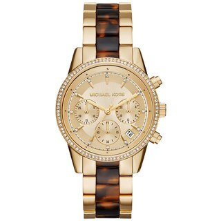 Michael Kors Women's MK6322 Ritz Chronograph Gold Dial Two-Tone Bracelet Watch