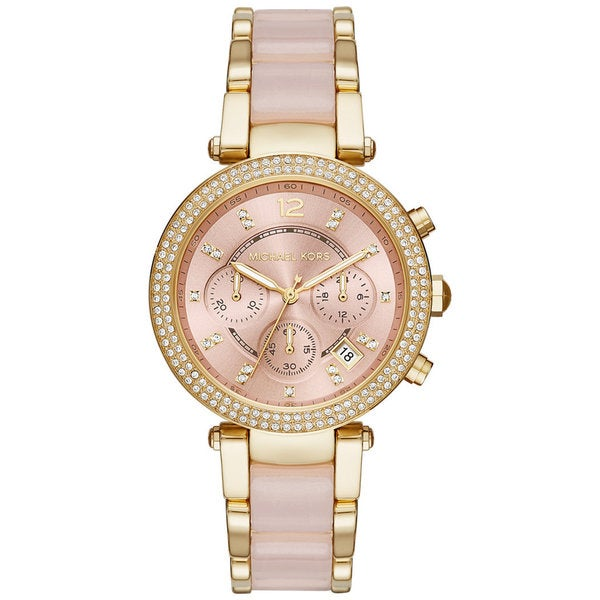 8f2a0131a4e7 Shop Michael Kors Women s MK6326 Parker Chronograph Rose-Tone Gold Dial  Two-Tone Bracelet Watch - Free Shipping Today - Overstock - 11520142