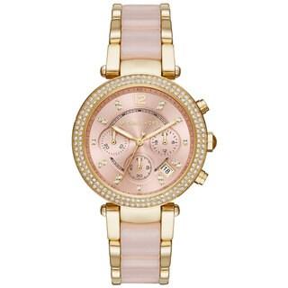 Michael Kors Women's MK6326 Parker Chronograph Rose-Tone Gold Dial Two-Tone Bracelet Watch