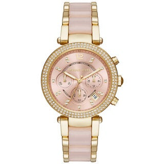 Michael Kors Women's MK6326 Parker Chronograph Rose-Tone Gold Dial Two-Tone Bracelet Watch