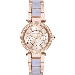 Michael Kors Women's MK6327 Mini Parker Multi-Function Rose-Tone Gold Dial Two-Tone Bracelet Watch