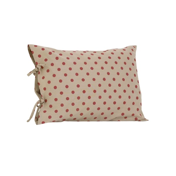 Raspberry Dot Plain Pillow Case with Ties