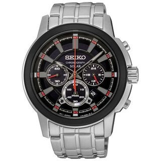 Seiko Men's SSC389 Stainless Steel Solar Chronograph Watch with a Black Dial and Luminous Hands