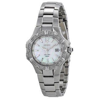 Seiko Women's Stainless Steel Diamond Mother of Pearl Dial Watch