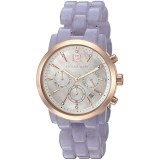 Michael Kors Women's MK6312 Audrina Chronograph Mother Of Pearl Dial Purple Acetate Bracelet Watch
