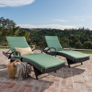 Toscana Outdoor Wicker Armed Chaise Lounge Chair with Cushion (Set of 2) by Christopher Knight Home