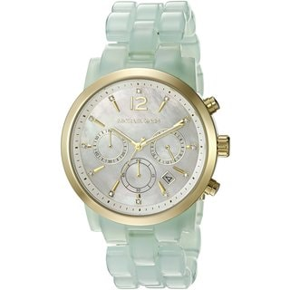 Michael Kors Women's MK6311 Audrina Chronograph Mother Of Pearl Dial Green Acetate Bracelet Watch