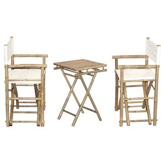 Handmade Bamboo Bistro Director's Chairs and Small Table Set (Vietnam) (Option: Yellow)