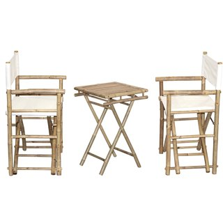 Handmade Bamboo Bistro Director's Chairs and Small Table Set (Vietnam)
