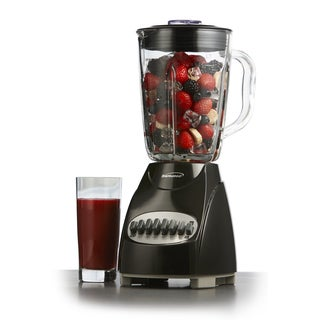 Brentwood JB-920B Black 1.25L 12-Speed Countertop Blender with Glass Jar