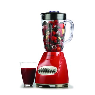Brentwood JB-920R Red 1.25L 12-Speed Countertop Blender with Glass Jar