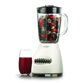 Brentwood JB-920W White 1.25L 12-Speed Countertop Blender with Glass Jar