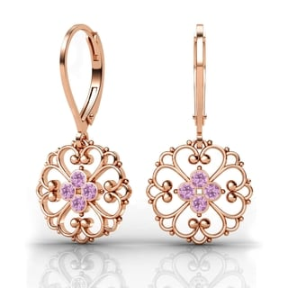 Lucia Costin Rose Goldplated Sterling Silver Lilac Crystal Dot Earrings