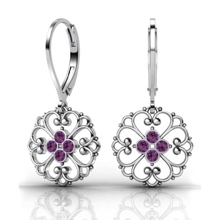 Lucia Costin Sterling Silver Violet Crystal Earrings