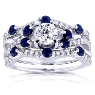 Annello by Kobelli 14k White Gold 4/5ct TDW Diamond and Scattered Blue Sapphire Double Bands Bridal