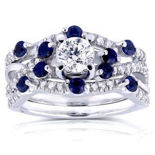 Annello 14k White Gold 4/5ct TDW Diamond and Scattered Blue Sapphire Double Bands Bridal Set (H-I, I1-I2)
