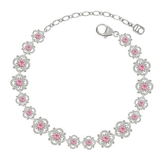 Lucia Costin Sterling Silver Light Pink Crystal Bracelet