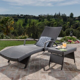 Toscana Outdoor 2-piece Wicker Armed Chaise Lounge Set by Christopher Knight Home