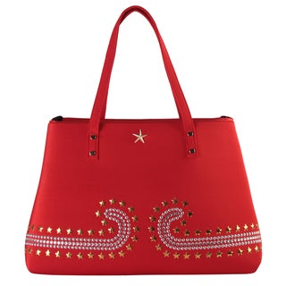 Diophy Faux Leather Studded Design Tote Handbag