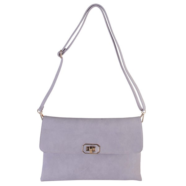 Shop Diophy Faux Leather Simple Crossbody Messenger
