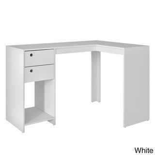 "Accentuations by Manhattan Comfort Modest Palermo Classic ""L"" Shaped Desk with 2 Drawers and 1 Cubby"