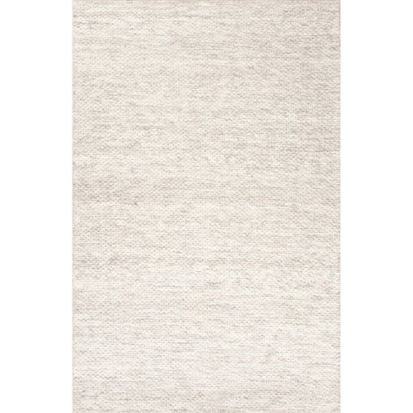 Daven Handmade Solid Taupe White Area Rug 9 X 12