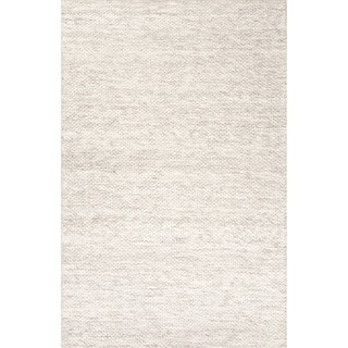 Contemporary Solid Pattern Ivory/ Grey Wool Area Rug (9' x 12')