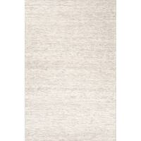 Daven Handmade Solid Taupe/ White Area Rug (9' X 12') - 9' x 12'