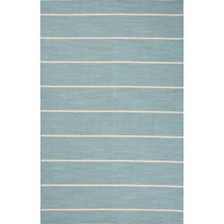 Flatweave Stripes Pattern Blue Wool Area Rug (2' x 3')