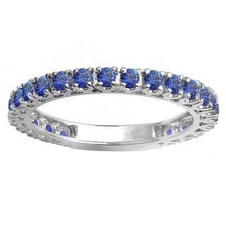 14k White Gold 1ct Round Blue Sapphire Eternity Wedding Band