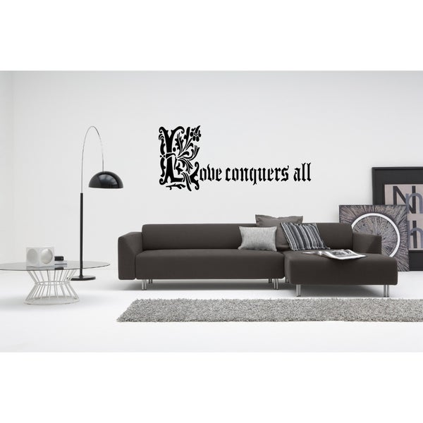 Love Conquers All quote Wall Art Sticker Decal