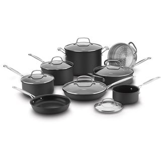Cuisinart Chef's Classic Nonstick Hard Anodized 14-Piece Cookware Set, Black