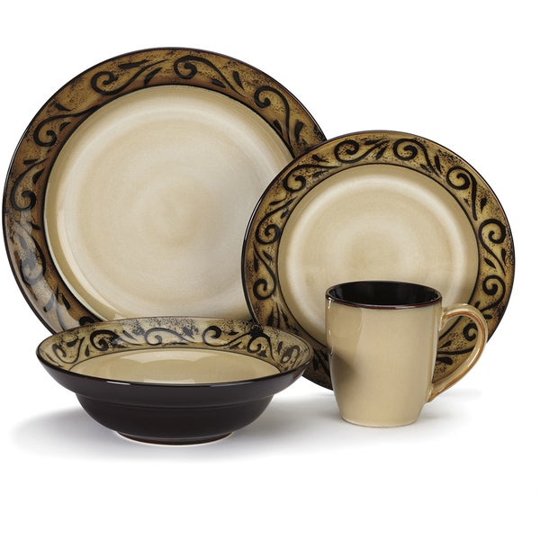 Cuisinart Isere Collection 16-Piece Stoneware Dinnerware Set  sc 1 st  Overstock.com & Cuisinart Isere Collection 16-Piece Stoneware Dinnerware Set - Free ...