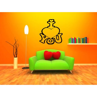 I love you Funny heart Wall Art Sticker Decal
