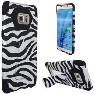 Insten White/Black Zebra Hard PC/ Silicone Dual Layer Hybrid Case Cover with Stand for Samsung Galaxy S7