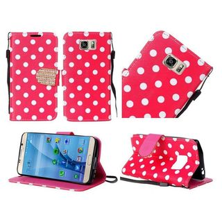 Insten Red/White Polka Dots Leather Case Cover Lanyard with Stand/Diamond for Samsung Galaxy S7