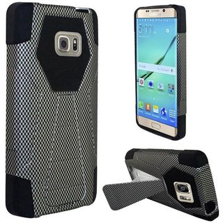 Insten Black Carbon Fiber Hard PC/ Silicone Dual Layer Hybrid Case Cover with Stand For Samsung Galaxy S7 Edge