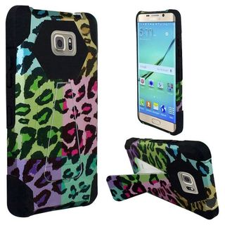 Insten Colorful/Black Leopard Hard PC/ Silicone Dual Layer Hybrid Case Cover with Stand for Samsung Galaxy S7 Edge
